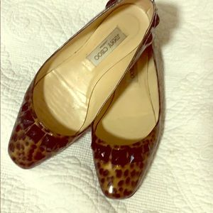Jimmy Choo flats leopard print with black beads